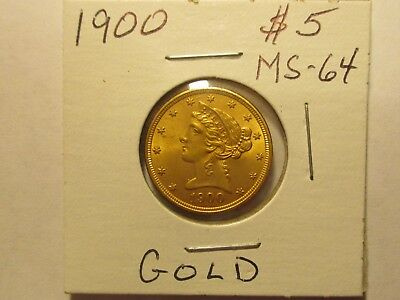 1900 Five Dollar Gold Piece  Ms/unc