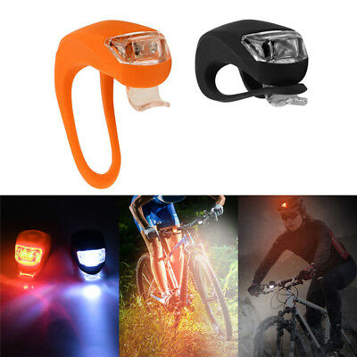 2Pcs Silicone Bicycle Bike Cycle Safety LED Head Front & Rear Tail Light Set  GC