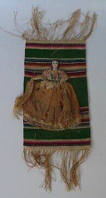 "Vintage 1940s Mexico Mexican Early California cloth doll on serape 6 1/4"" x 11"""