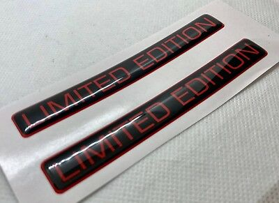 2 pcs. Limited Edition badge logo stickers. Domed 3D Stickers/Decals. Red