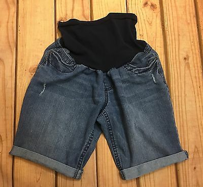 Two Hearts Shorts Maternity Denim Jean Bermuda Cuffed Distressed Size M