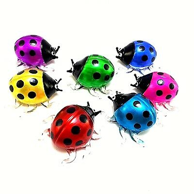 7 X Figurine Miniature Hand Blown Glass Ladybug Insect Art Animal Collectibles#M