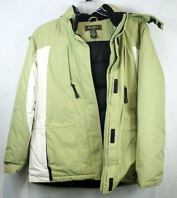 Eddie Bauer Goose Down Hooded Men's Parka XL Tall - Green and White