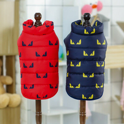 Printed Small Dog Coat Jacket Padded Warm Pet Cat Clothes Winter Poodle Apparel