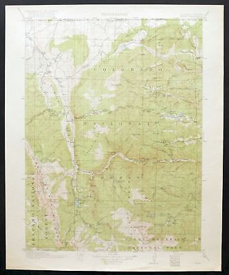 1920 Home Colorado Wyoming Red Feather Lakes RMNP Vintage USGS Topo Map