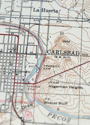 1943 Carlsbad New Mexico Loving Vintage 15-minute USGS Topographic Topo Map