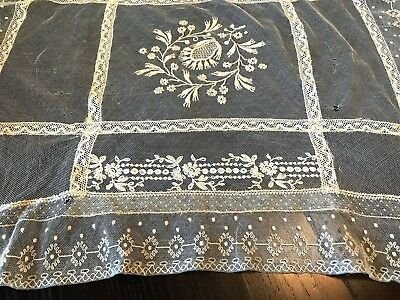 Antique Victorian Tambour French LACE on Net Limerick Doily Pillow Layover Ecru