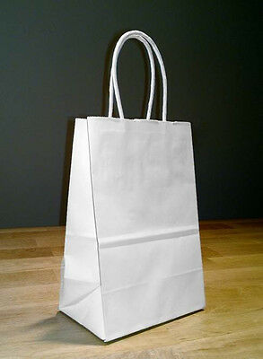 100 Small White Paper Shopping Bags with Rope Handles 5.5 x 3.25 x 8.5