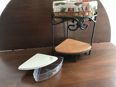 LONGABERGER Countertop Wrought Iron Corner Stand With Shelf and Basket