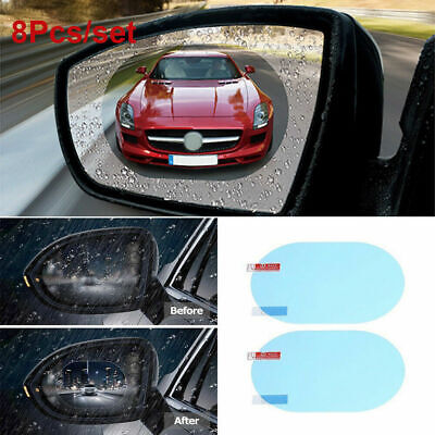 2Pcs Clear Oval Anti Fog Rainproof Rearview Mirror Protective Film For Car Auto