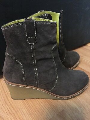 Womens Suede Leather Wedge Boden Booties Boots Brown Shoes 38/8 Shoes