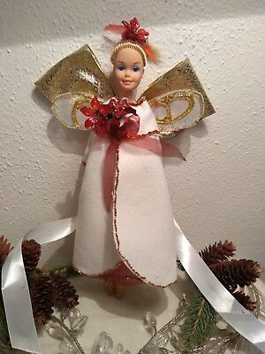 60's Sis handmade tree topper Fairy angel vintage Christmas gold white red xmas