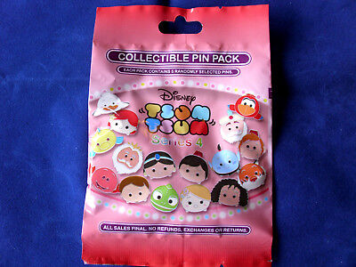Disney* TSUM TSUM * Series 4 * New & Sealed * 5-pin Collectible Mystery Pin Pack