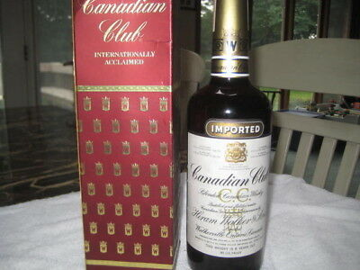 Vintage Canadian Club Imported Whiskey Bottle 1979 empty