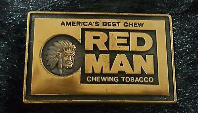 Red Man Chewing Tobacco Belt Buckle Solid Brass
