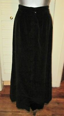 Vintage Loomtogs Boho Black Velvet Button Up Front Maxi Skirt Party Holiday M