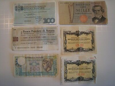 Italy Italian Currency Banknote Note ~ Lot of 6 ~ from approx. 1977
