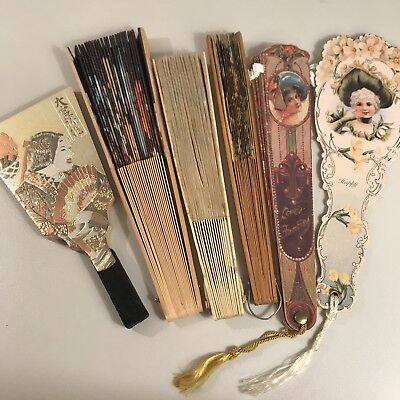 Lot of 6 Vintage Decorative Hand Fans, oriental / asian style, wood paper fabric
