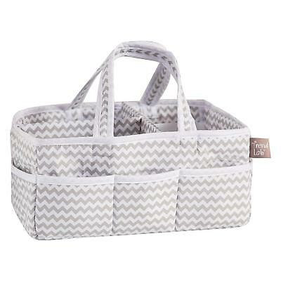 Trend Lab Dove Gray Chevron Storage Caddy, White/Grey, NEW, Free Shipping!