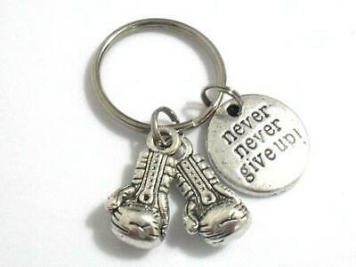 Never Never Give Up ! Boxing Gloves Charms Keyring Silver In Gift Bag
