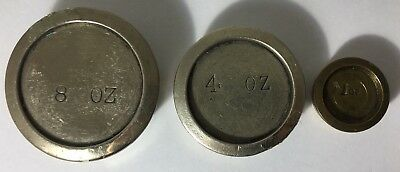 VINTAGE BRASS IMPERIAL SCALE WEIGHTS 8oz 4oz 1oz