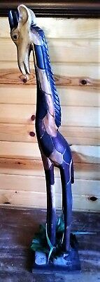 """Amazing Price~Hand Carved 33"""" African Giraffe Wood Sculpture Statue"""