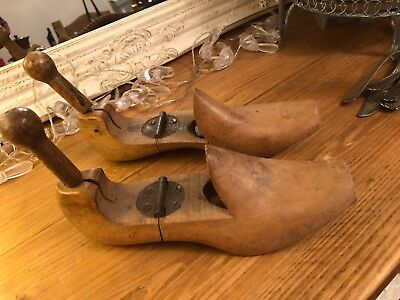 Vintage Pair Of Wooden Shoe Lasts, Womens Hinged In Lovely Condition