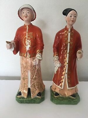 Vintage Antique Rare Mottahedeh Asian Chinese Wife Husband Nodding Figurines