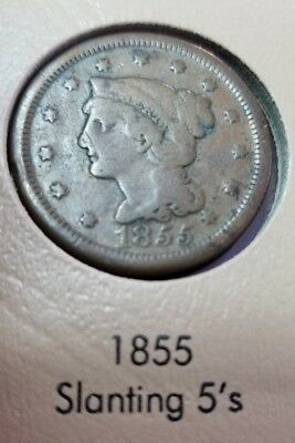1855 Large Cent Coin ~ SLANTING 5's
