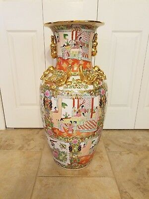 Beautiful  Vintage Chinese Hand Painted Vase 32 inches tall
