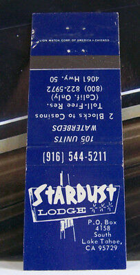 Rare Vintage Matchbook Cover O1 California South Lake Tahoe Stardust Waterbeds
