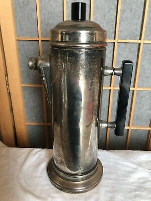 vintage Silver plate on Copper black bakelite handle cocktail shaker