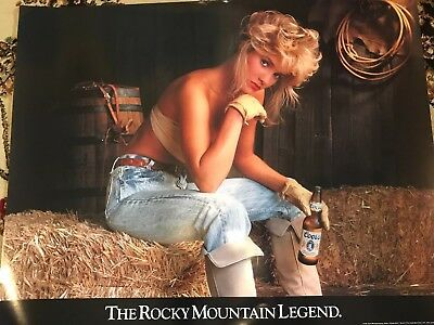 Vintage Coors Beer Cow Girl Poster. NOS. 1991