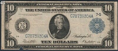 """1914 $10 """"FR#931A"""" Large Federal Reserve Bank Note *Free S/H After 1st Item*"""