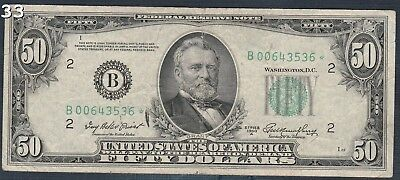 "1950-A$50 ""FR#2108B* ""Star Note"" Dollar Federal Reserve Note"