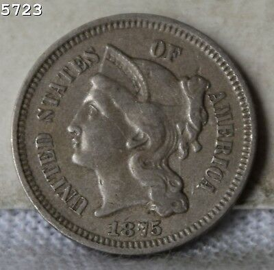 "1875 Three-Cent Piece (Nickel) ""VF/XF"" *Free S/H After 1st Item*"