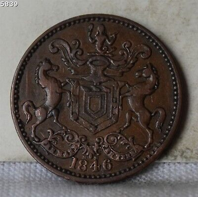 """1846 *Newfoundland* Canada Half Penny Token """"VF/XF"""" *Free S/H After 1st Item*"""