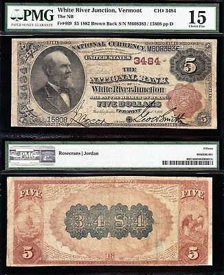 "VERY NICE *RARE* 1882 $5 WHITE RIVER JUNCITON, VT ""BROWNBACK"" National! PMG 15!"