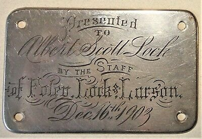 Antique 1903 Foley Lock & Larson Winnipeg Grocery Plaque Albert Scott Canada