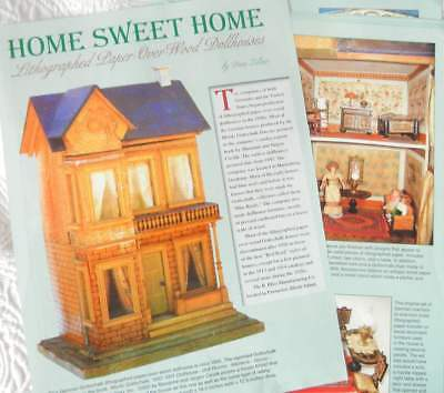 15p History Article + Pics -  Antique Gottschalk Paper Over Wood Doll House