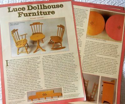 8p History Article - Rare Antique Luce Wooden Hingham Doll House Furniture