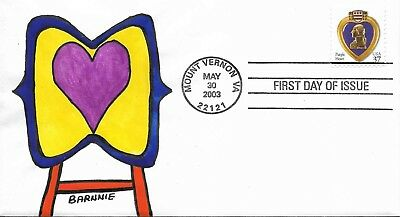 FDC Purple Heart Mount Vernon VA May 30 2003 Hand Painted Cachet by Barnnie