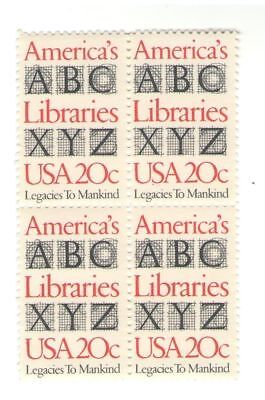 America's Libraries Librarians 35 Year Old Vintage Mint Stamp Block from 1982