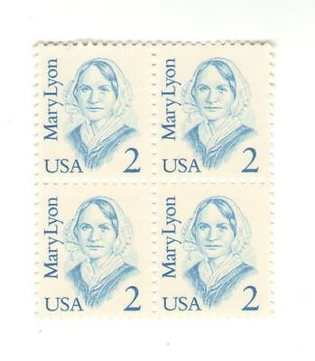 Mary Lyon, Teacher Mount Holyoke 30 Year Old Mint Vintage Stamp Block from 1987