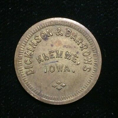 Dickinson & Barrows Klemme, Iowa Good for 2 1/2 Cents Token