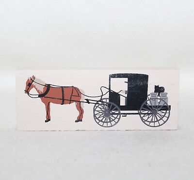"1994 Faline Cat's Meow ""AMISH BUGGY & HORSE"" Shelf Signed Sitter Accessory"