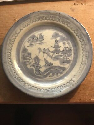 Antique Old 19TH Century Canton Chinese 5 3/4 Plate Nantucket Sea Captain Boat