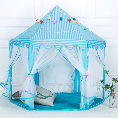 Tent Princess House Castle Girls Playhouse Kids In/Outdoor Fairy Play Tent Blue