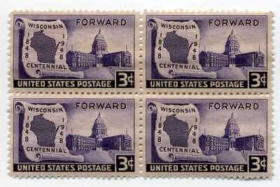 Wisconsin 69 Year Old Mint Vintage US Postage Stamp Block from 1948