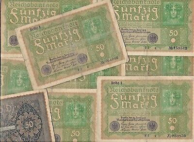 10 Rare Old German Post WWI War Berlin 50 Mark Note 1919 Germany Collection Lot